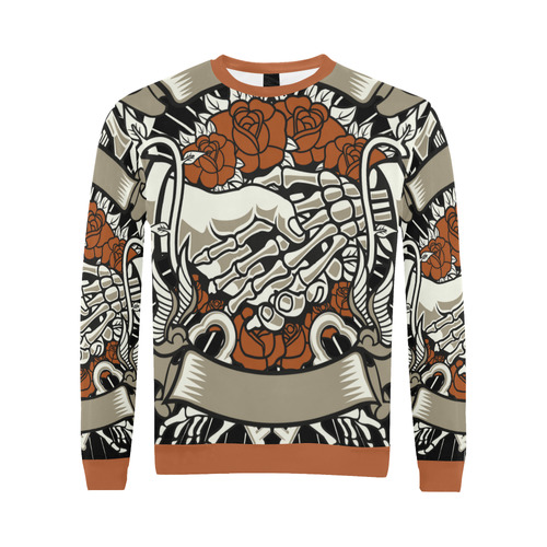 Otherside Sienna Brown All Over Print Crewneck Sweatshirt for Men (Model H18)
