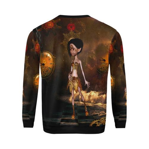 Sweet steampunk girl on the beach All Over Print Crewneck Sweatshirt for Men (Model H18)