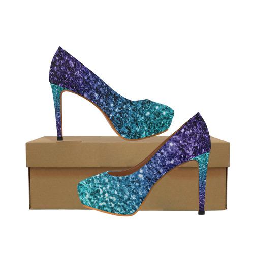 99d38e352594 Beautiful Aqua blue Ombre glitter sparkles Women's High Heels (Model 044) |  ID: D1979123