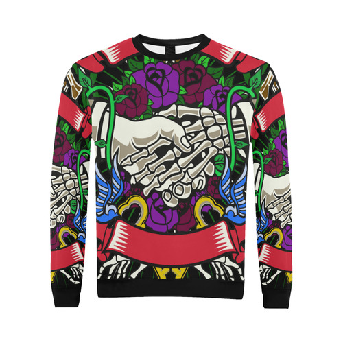Otherside Modern Black All Over Print Crewneck Sweatshirt for Men (Model H18)