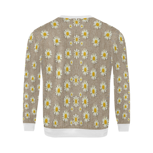 Star fall of fantasy flowers on pearl lace All Over Print Crewneck Sweatshirt for Men (Model H18)