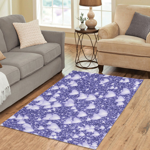 Hearts on Sparkling glitter print, blue Area Rug 5'3''x4'