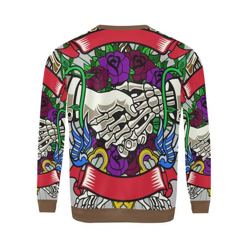 Otherside Modern Brown All Over Print Crewneck Sweatshirt for Men (Model H18)
