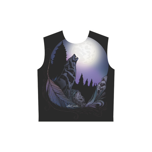 Howling Wolf All Over Print Sleeveless Hoodie for Women (Model H15)
