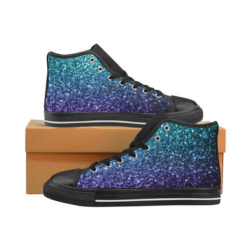 64cf230b1e99 Beautiful Aqua blue Ombre glitter sparkles High Top Canvas Shoes for Kid  (Model 017) | ID: D1977958