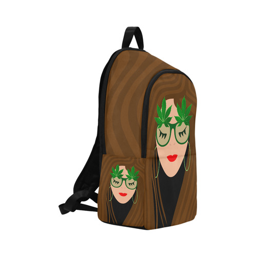 420 Glasses Girl Fabric Backpack for Adult (Model 1659)