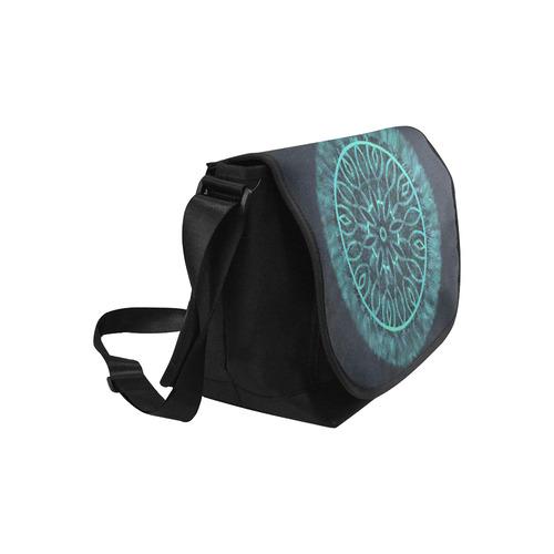 Faux Stitch, Turquoise Flower Fur New Messenger Bag (Model 1667)
