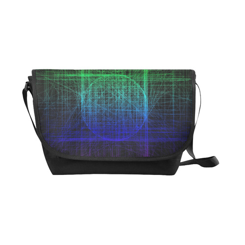 Blue and Green Retro Glitch New Messenger Bag (Model 1667)