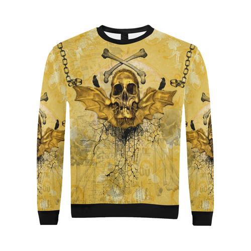 Awesome skull in golden colors All Over Print Crewneck Sweatshirt for Men/Large (Model H18)