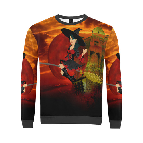 Witch and Red Moon All Over Print Crewneck Sweatshirt for Men (Model H18)