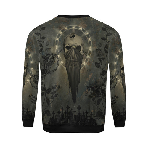 The creepy skull with spider All Over Print Crewneck Sweatshirt for Men/Large (Model H18)