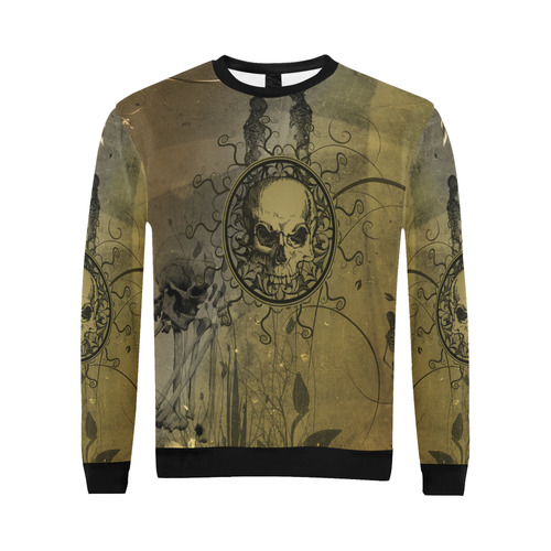 Amazing skull with skeletons All Over Print Crewneck Sweatshirt for Men/Large (Model H18)