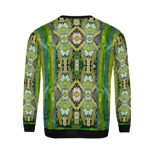 Bread sticks and fantasy flowers in a rainbow All Over Print Crewneck Sweatshirt for Men (Model H18)