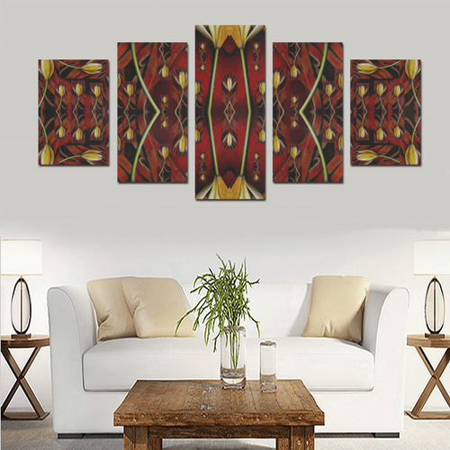 fantasy flowers and leather in a world of harmony Canvas Print Sets D (No Frame)
