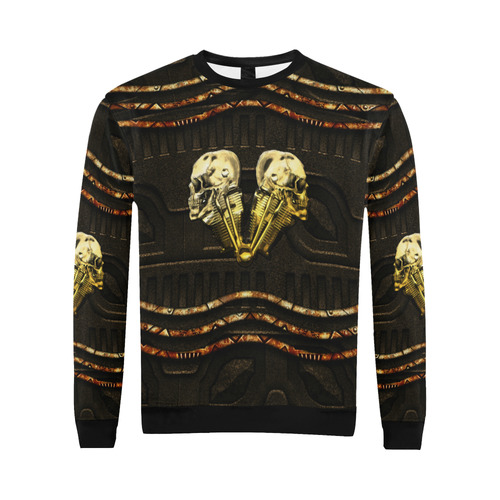 Awesome mechanical skull All Over Print Crewneck Sweatshirt for Men/Large (Model H18)