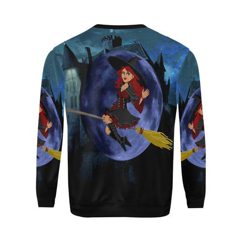 Witch and Blue Moon All Over Print Crewneck Sweatshirt for Men (Model H18)