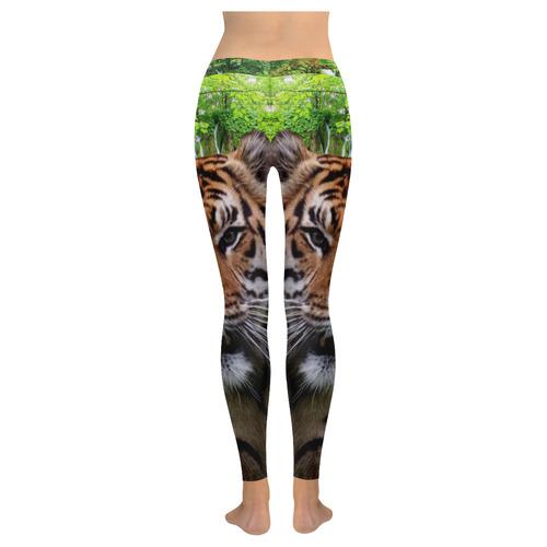 Tiger and Waterfall New Low Rise Leggings (Flatlock Stitch) (Model L07)