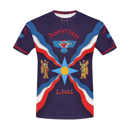 All Over Print Assyrian Flag T-Shirt All Over Print T-Shirt for Men (USA Size) (Model T40)