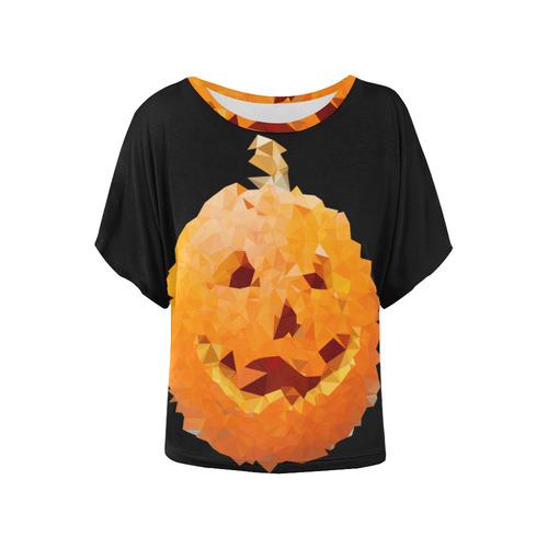 2ea93ac3 Halloween Pumpkin Low Poly Geometric Women's Batwing-Sleeved Blouse T shirt  (Model T44) | ID: D1991566