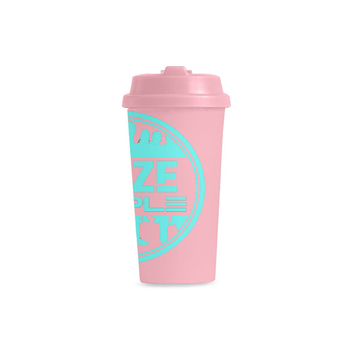 Thoze People Plastic Mug (Aqua on Pink) Double Wall Plastic Mug