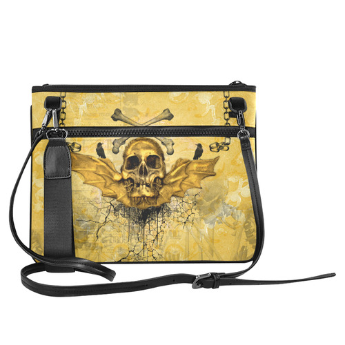Awesome skull in golden colors Slim Clutch Bag (Model 1668)