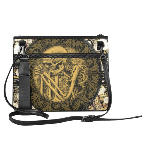 The skeleton in a round button with flowers Slim Clutch Bag (Model 1668)