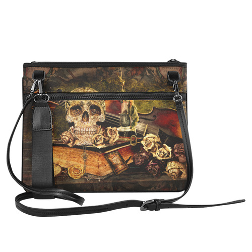 Steampunk Alchemist Mage Roses Celtic Skull Slim Clutch Bag (Model 1668)