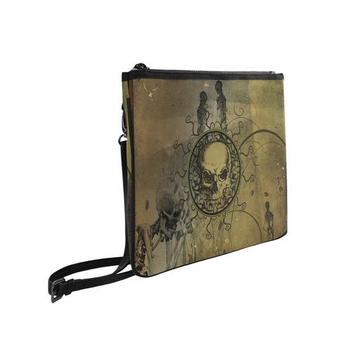 Amazing skull with skeletons Slim Clutch Bag (Model 1668)