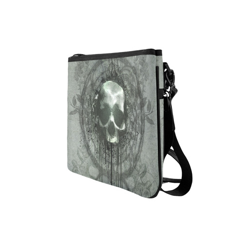 Awesome skull with bones and grunge Slim Clutch Bag (Model 1668)