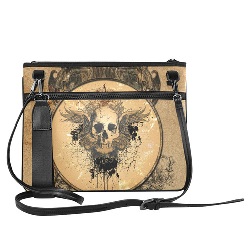 Awesome skull with wings and grunge Slim Clutch Bag (Model 1668)