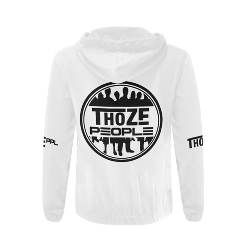 Thoze People Jacket with hood (Black on White) All Over Print Full Zip Hoodie for Men (Model H14)