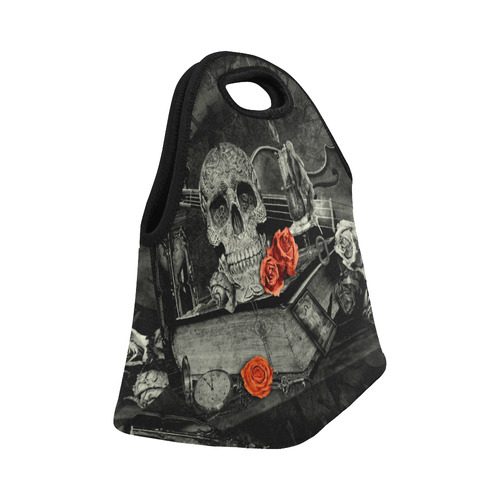 Steampunk Alchemist Mage Red Roses Celtic Skull Neoprene Lunch Bag/Small (Model 1669)