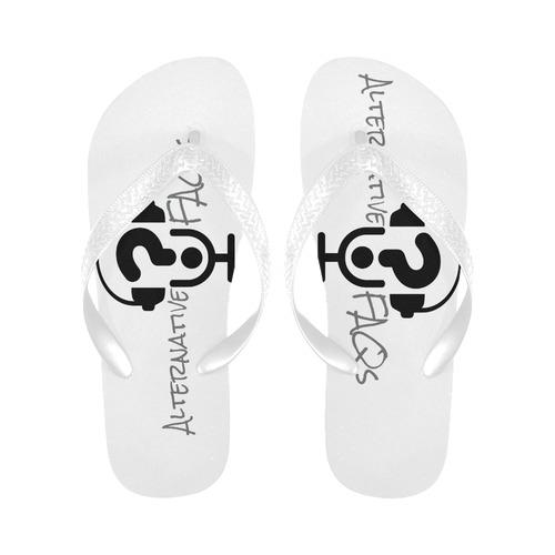 Alt FAQs Slides (Black on White) Flip Flops for Men/Women (Model 040)