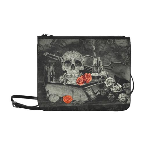 Steampunk Alchemist Mage Red Roses Celtic Skull Slim Clutch Bag (Model 1668)