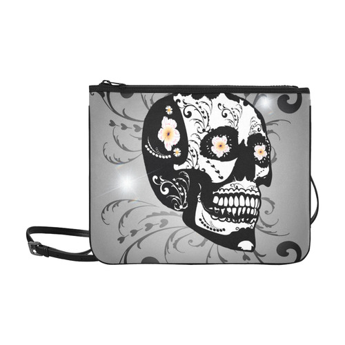 Wonderful sugar skull in black and white Slim Clutch Bag (Model 1668)