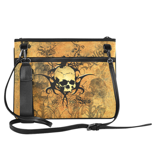 Awesome skull with tribal Slim Clutch Bag (Model 1668)