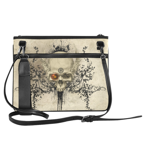 Amazing skull with wings,red eye Slim Clutch Bag (Model 1668)