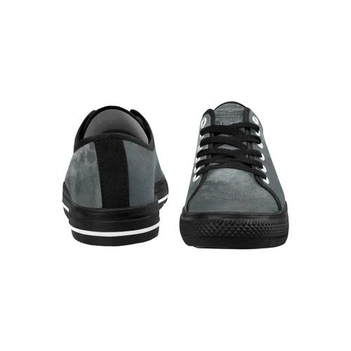 Dark grey letter vintage batik look Seattle Low Top Women's Shoes/Large Size (Model 10136)