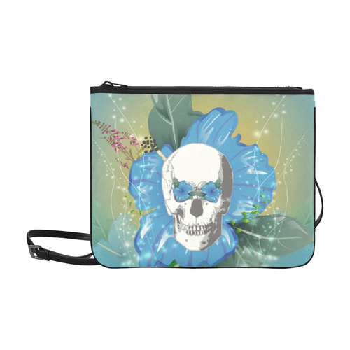 Funny skull with blue flowers Slim Clutch Bag (Model 1668)