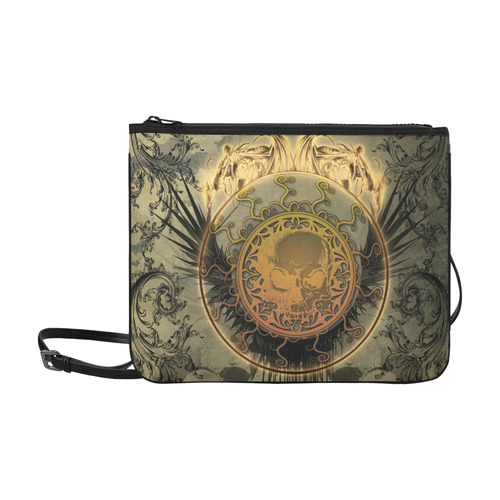 Awesome skulls on round button Slim Clutch Bag (Model 1668)