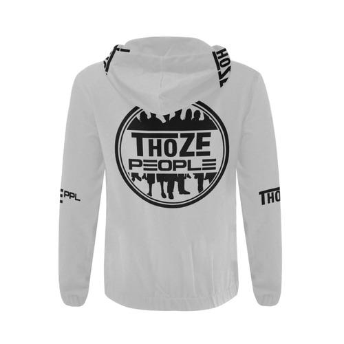 Thoze People Jacket w/ Hood (Black on Light Gray) All Over Print Full Zip Hoodie for Men (Model H14)