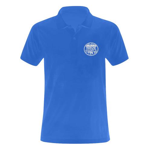 Thoze People Polo (White on Blue) Men's Polo Shirt (Model T24)