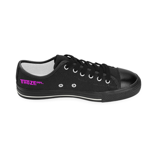 Thoze Low for Ladies (Pink on Black) Women's Classic Canvas Shoes (Model 018)