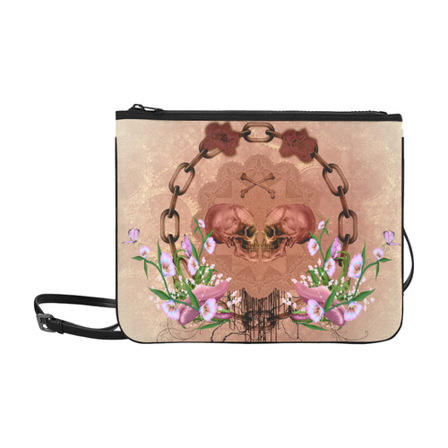Awesome skulls with flowres Slim Clutch Bag (Model 1668)