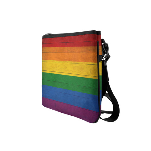 Rainbow Flag Colored Stripes Wood Slim Clutch Bag (Model 1668)