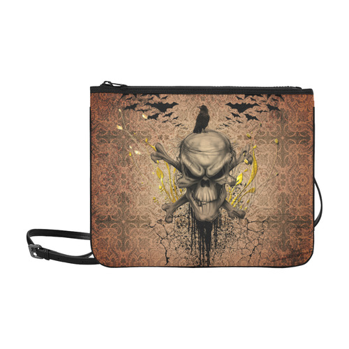 The scary skull with crow Slim Clutch Bag (Model 1668)