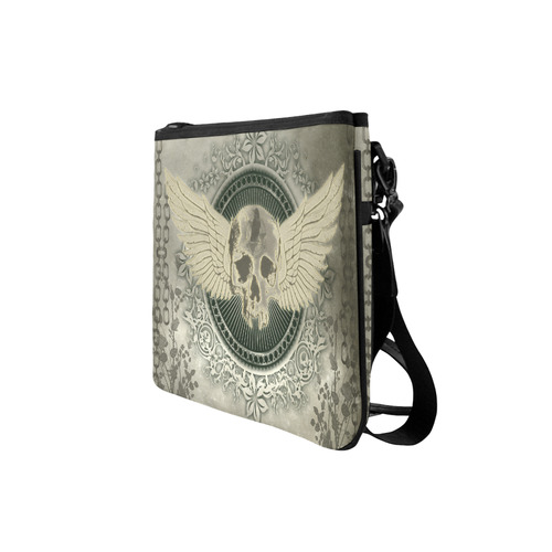Skull with wings and roses on vintage background Slim Clutch Bag (Model 1668)