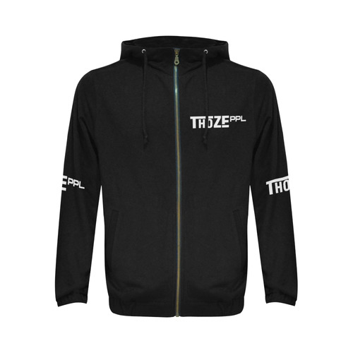 Thoze People Jacket w/ hood (White on Black) All Over Print Full Zip Hoodie for Men (Model H14)