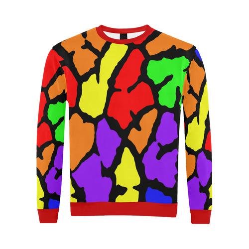 Rainbow Giraffe Print All Over Print Crewneck Sweatshirt for Men/Large (Model H18)