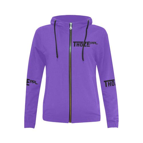 Thoze People Ladies Jacket w/ hood (black on purple) All Over Print Full Zip Hoodie for Women (Model H14)